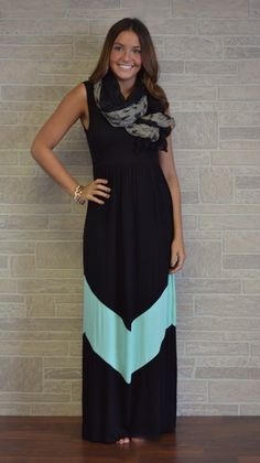 black with mint chevron maxi dress
