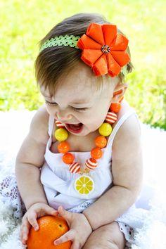 Orange Slice Chunky Bubblegum Bead Necklace- Baby Girl Necklace- Summer Toddler Girl Necklace- Kids Jewelry