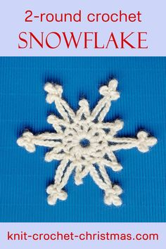 Crochet this snowflake with just 2 rounds of crochet. Close-up photos, video tutorial, free written pattern. #snowflake #crochetsnowflake #crochettutorial #crochetpattern #christmasornaments #christmascrochet Crochet Christmas Stocking Pattern, Crochet Stocking, Crochet Snowflake Pattern, Crochet Christmas Gifts, Crochet Mittens, Holiday Crochet, Crochet Snowflakes, Knit Or Crochet, Diy Christmas