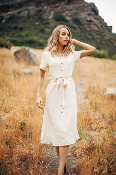 THE MARCUS BUTTON DOWN MIDI DRESS IN OATMEAL// DRESSES// WOMENS CLOTHING