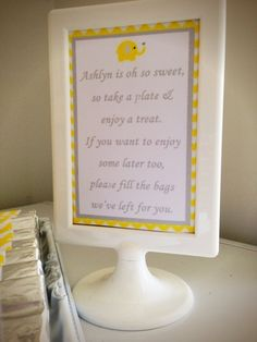 Yellow and Grey Elephant themed 1st birthday party via Kara's Party Ideas KarasPartyIdeas.com The Place for All Things Party! #elephantparty #yellowandgrey #yellowandgreychevron #firstbirthday #genderneutral #chevronparty (13)