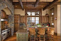 Terrific log home kitchen!
