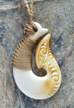 Hand Made Bound Maori Matau (Fish Hook) bone carving Necklace from New Zealand Airbrush, Bone Crafts, Maori Designs, Maori Art, Carving Designs, Bone Carving, Fish Hook, Hand Coloring, New Zealand