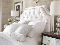 Love This Tufted Headboard! Beautiful Monochromatic Bedroom.