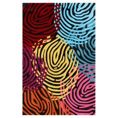 Hand-tufted rug with a multicolor fingerprint motif.  Product: RugConstruction Material: 100% Polyester...