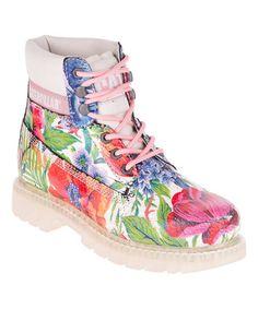 Look at this #zulilyfind! Pink Floral Colorado Suede Work Boot #zulilyfinds