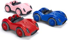Green Toys race cars -- not only made in the US but out of recycled materials and fun to play with too!