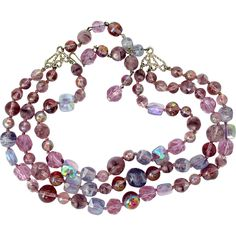 Vintage Lavender Crystal Bead Three Strand Necklace offered by 2Hearts Uptown Jewelry & Accessories.