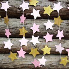 Pas cher 2 pcs Rose et Or Étoiles Guirlande, Twinkle Twinkle Little Star Guirlande, 1er Anniversaire Party Decor, Acheter Accessoires de fêtes et d'évènement de qualité directement des fournisseurs de Chine: papier guirlande, étoiles guirlande, de mariage guirlande, vacances décor, vacances