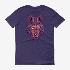 Men Wolf Head T Shirt Purple