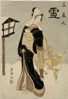 Three Beauties: Snow - Utagawa Toyokuni, c.1810