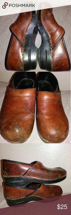 Danskin classic Chestnut leather clogs Well loved, lots of life left. See scratches, etc but still good condition and sturdy Dansko! Dansko Shoes Mules & Clogs