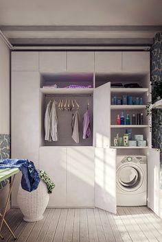 Basement Living Rooms, Basement Laundry, Interior Design Living Room, Utility Room Storage, Closet Storage, Casa Mix, Laundry Business, Laundry Sorting, Laundry Room Design