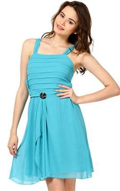 5ecb0a492a The Vanca Turquoise Blue Georgette Dress Beautiful Dresses For Women