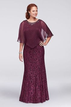 This plus size lace column dress has just a hint of flare at the hemline for easy movement, and is topped with a crystal-embellished sheer chiffon capelet. By Ignite Two-piece ensemble Polyester,