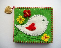 Needle Book Green Felt Case with White by HandcraftedorVintage, $25.00
