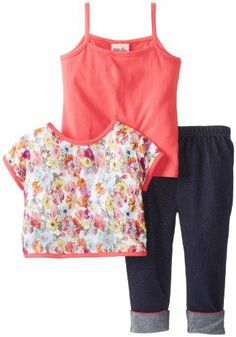 Little Lass Girls 2-6X 3 Piece Layered Capri Set Printed Lace, Coral/Denim, 4T #valentine #gifts #sale