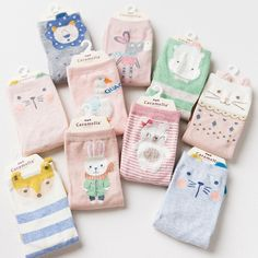 4 Pairs/lot Women Socks Candy Color Small Animal Cartoon Pattern Boat Sock Suit for Summer Breathable Casual Ladies Funny Sox #Affiliate