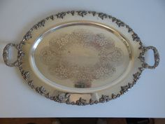 """Large Oval Silverplate Handled Tray with Grape and Leaf Chased Edge – 27"""" long – Elegant Serving Tray – Silver over Copper"""