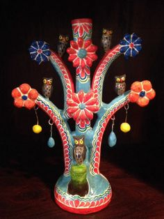 Vintage Mexican Folk Art Owl Tree Of Life Candle Holder! Hand Painted!
