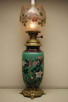 French Cloisonne Kerosene Lamp with Baccarat Glass Shade Victorian Lighting, Victorian Lamps, Antique Lighting, Antique Oil Lamps, Old Lamps, Lampe Art Deco, Grande Lampe, Applique, Lampe Decoration