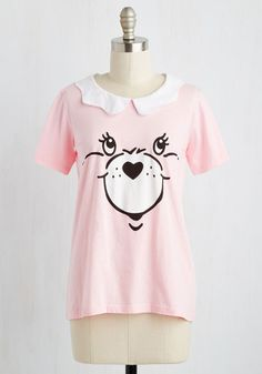 Face Your Cheers Top in Bubblegum - Pink, Peter Pan Collar, Quirky, Critters, Short Sleeves, Knit, Best, Variation, Collared, Novelty Print, Kawaii