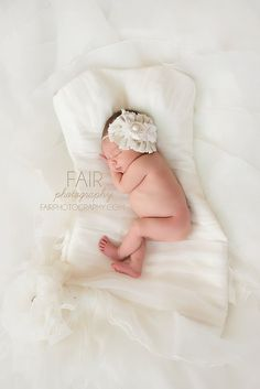 Linen and Lace- linen and cotton rosette  with lace and pearl headband
