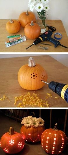 Cool idea - drill your pumpkins for neat, unique and quick designs!