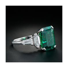 Rate this from 1 to Vintage Jewelry Emerald Engagement Rings for May emerald-diamond-ring - Once Wed Vintage Emerald Ring Swarovski Crystal Emerald Green Emerald Ring Vintage, Emerald Jewelry, Vintage Rings, Emerald Rings, Emerald Cut, Ruby Rings, Emerald Diamond, Diamond Art, Natural Emerald