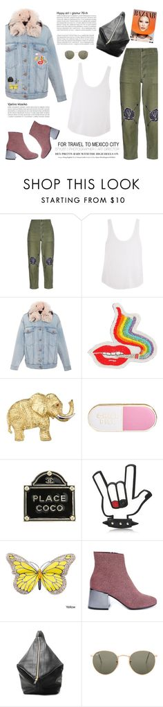 """How to Style a Denim Jacket with Colorful Pins and Army Green Pants"" by outfitsfortravel ❤ liked on Polyvore featuring Bliss and Mischief, Frame, Alexander Wang, Olympia Le-Tan, ban.do, Chanel, Dsquared2, MM6 Maison Margiela, Ray-Ban and contemporary"