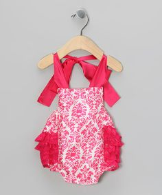 Loving this Hot Pink Damask Bubble Romper - Infant on #zulily! #zulilyfinds