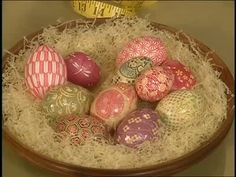 Martha Stewart and her guest Kevin create beautiful Easter eggs using Japanese chiyogami paper instead of the traditional method of dyeing.