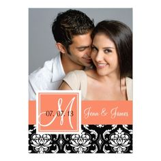 Orange Peach Black Damask Photo Save the Date Invitations