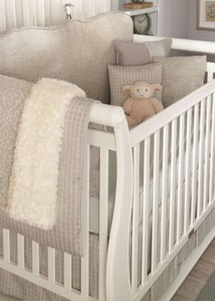 Neutral is perfect for a baby's room. The room can grow with the child with new bedding and toys!