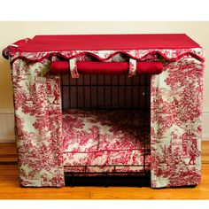 RED Toile Dog Crate Cover