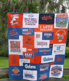 t-shirt quilt -- i like the different sizes and shapes in this one.  and the unifying color scheme.