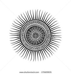 Mayan sun symbol, round tattoo ornament Vector Image – Vector illustration of Backgrounds, Textures, Abstract © lirch - Mandala Do Sol, Sol Maya, Future Tattoos, Tattoos For Guys, Rundes Tattoo, Inka Tattoo, Mayan Tattoos, Indian Tattoos, Tribal Tattoos