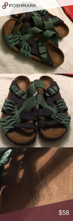 Tatami by Birkenstock navy & green sandals size 36 Tatami by Birkenstock navy & green sandals.  Size 36z.  Adjustable strap in lightly used condition.  Great colors Birkenstock Shoes Sandals