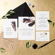 Bohemian Wedding Invitations - Feather | CHWV