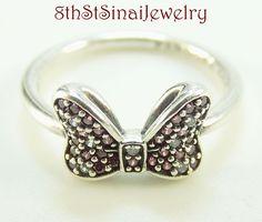 Pandora Sterling Silver 925 Disney, Minnie's Sparkling Bow Ring SZ 48 #190956CZR #PandoraALE #Cluster