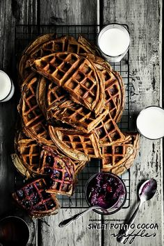Sweet Potato-Cocoa Waffles @FoodBlogs