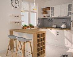 Projekt kuchni i salonu - Mała otwarta kuchnia w kształcie litery u w aneksie…