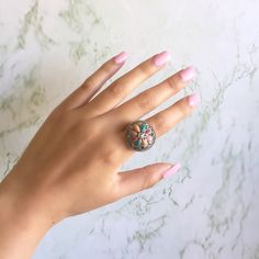 Vintage Stone Ring This beauty was made in Thailand. It is stamped .925. It's a great vintage piece that belonged to my grandmothers collection. It is missing one tiny little stone but it's definitely not noticeable. Vintage Jewelry Rings