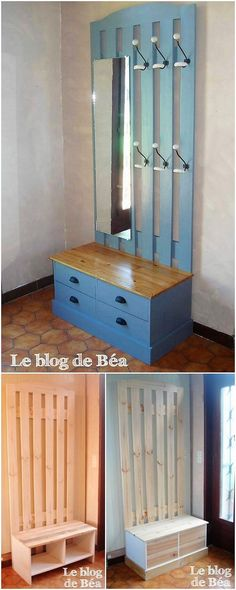 Cool and an impressive piece of the furniture is introduced for you where the rustic wood pallet coverage is the best part of it. Bring attractive looking in the introduction of the dressing table with mirror where one portion is highlighted with the coat rack portion.
