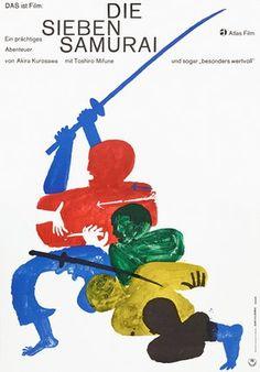 "movieposteroftheday: "" 1962 German poster for SEVEN SAMURAI (Akira Kurosawa, Japan, Designer: Hans Hillmann (b. Poster source: Heritage Auctions See the 20 most popular posters on Movie. Art Illustration Vintage, Graphic Design Illustration, Samurai, Poster Art, Poster Prints, Art Print, Poster Ideas, Vintage Poster, Japanese Poster"