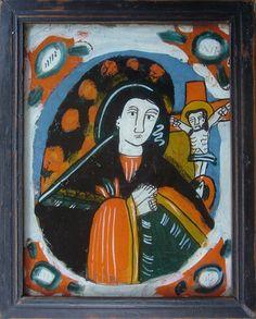Hinterglasikone aus Nicula, Siebenbürgen, Rumänien, um 1800 Kandinsky, Art Populaire, Art Brut, Mary Mary, Painting, Romania, Photo Illustration, Paintings, Draw