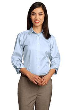 Red House RH61 Ladies 3/4-Sleeve Dobby Non-Iron Button-Down Shirt. - Light Blue - M