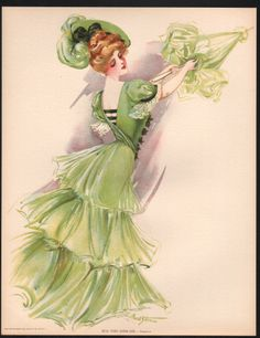 Old Vintage 1907 Antique VICTORIAN PRINT New York Show Girl BROADWAY