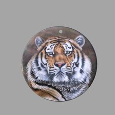 HAND PAINTED TIGER NATURAL MOTHER OF PEARL SHELL NECKLACE PENDANT ZP30 00814 #ZL #PENDANT