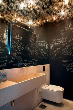 great idea for kid's bathroom -paint walls with chalkboard paint